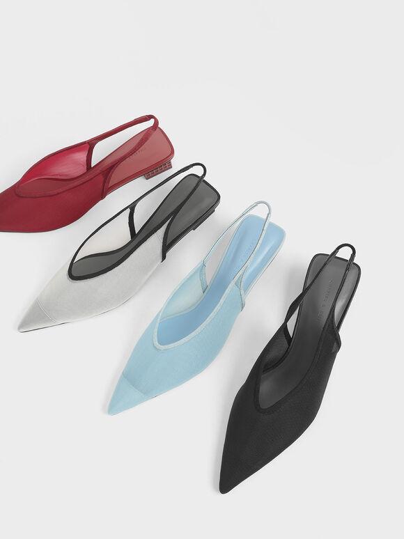 Mesh Slingback Heels, Black, hi-res