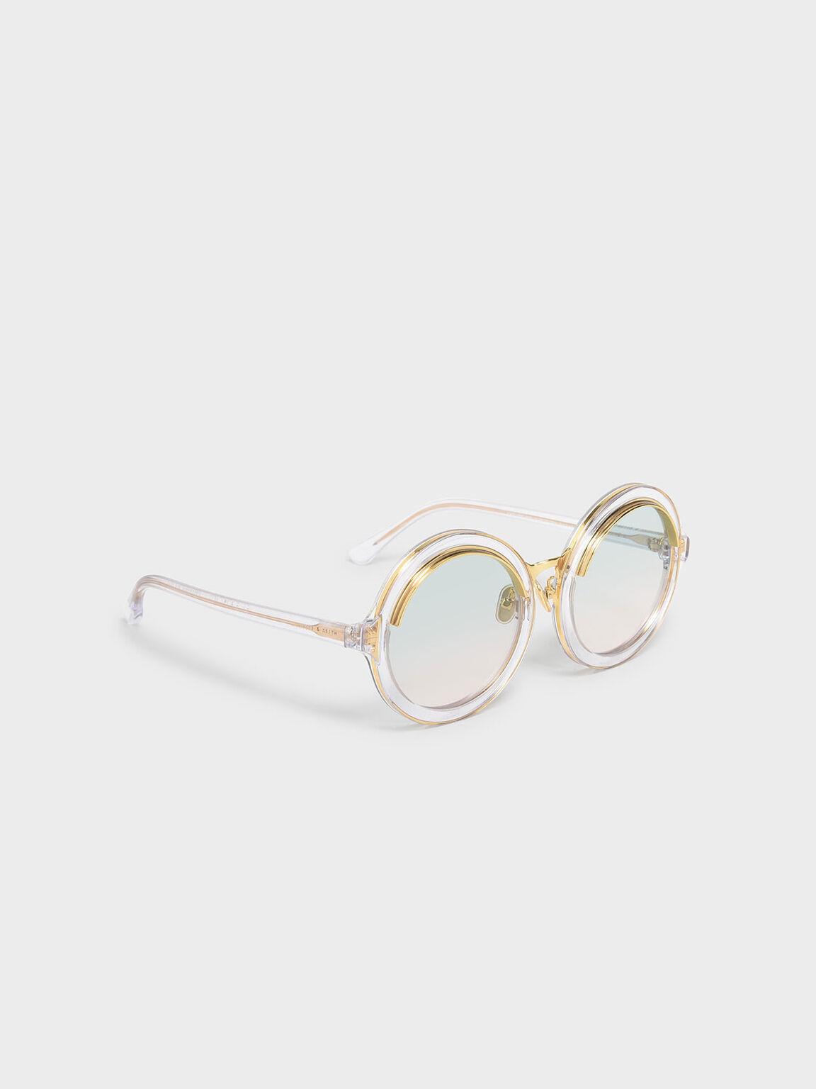 Thick Frame Round Sunglasses, White, hi-res