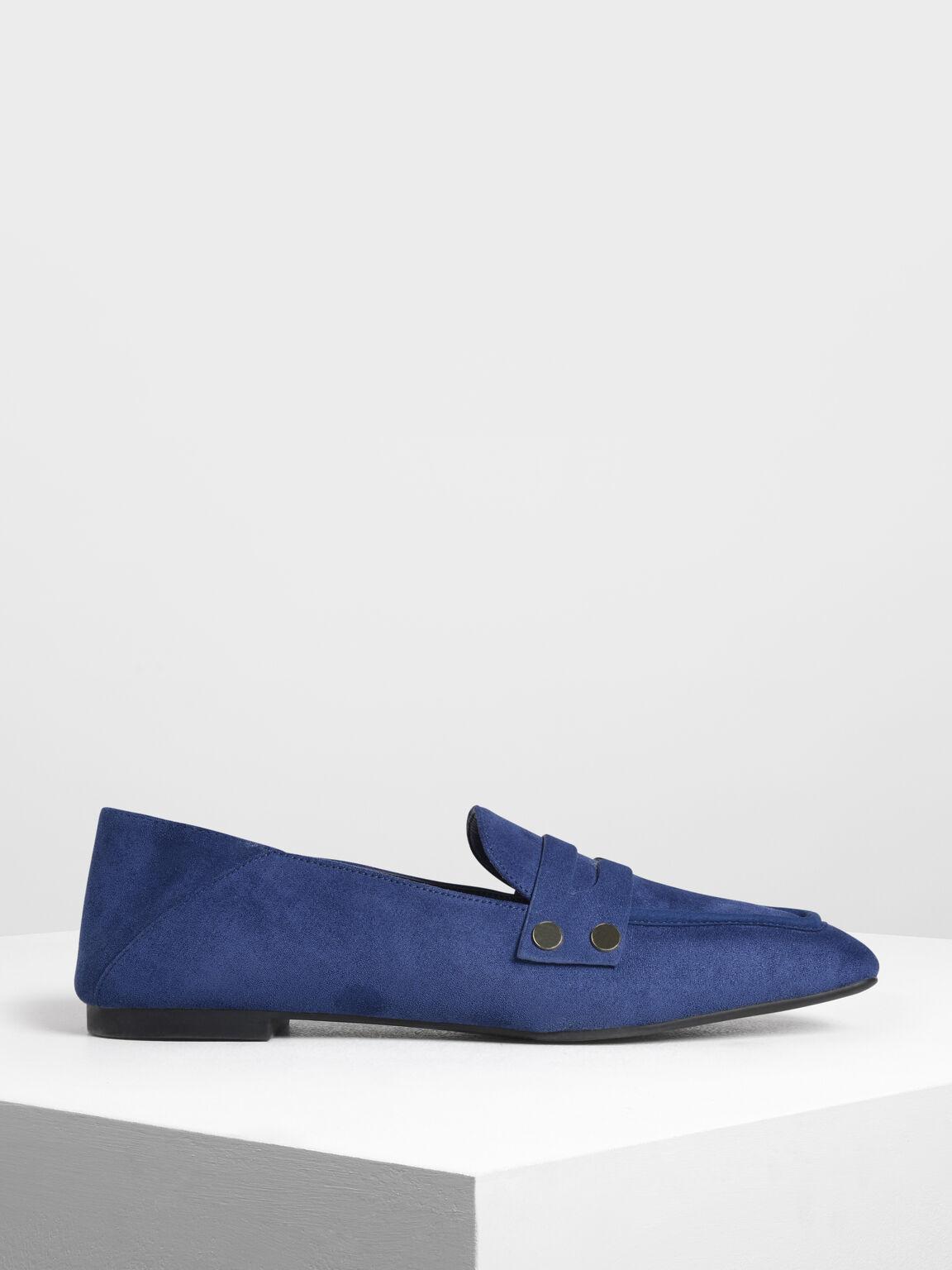 Stud Detail Step Back Penny Loafers, Dark Blue, hi-res