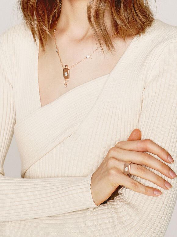 Moonstone Signet Ring, Rose Gold, hi-res