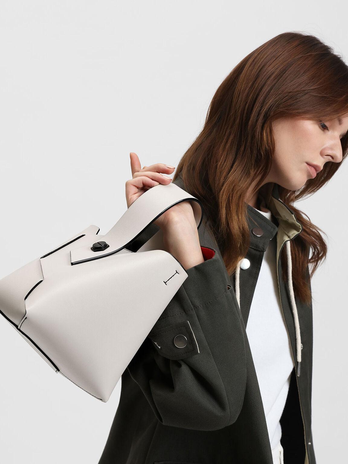 Wristlet Handle Bucket Bag, Chalk, hi-res