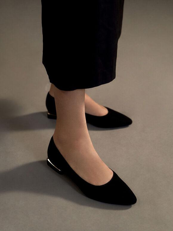 Textured Ballerina Flats, Black Textured, hi-res