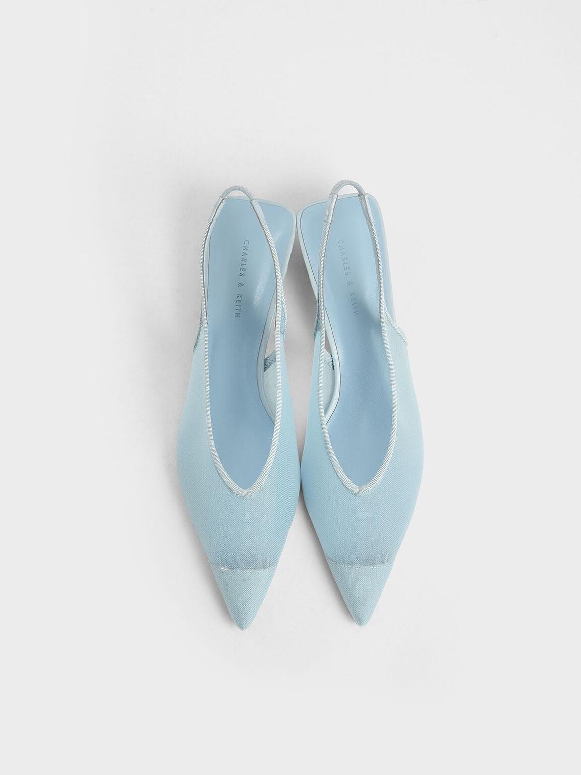 Mesh Slingback Heels, Light Blue, hi-res