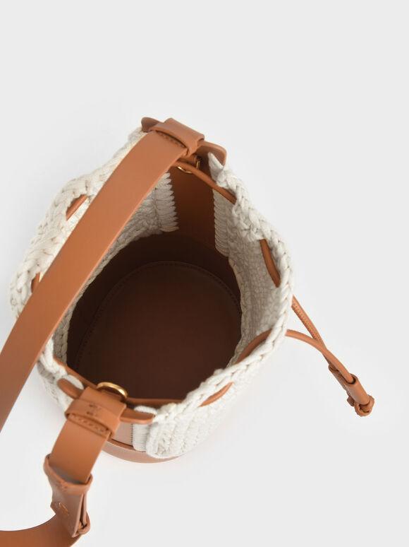 Crochet Drawstring Bucket Bag, Cognac, hi-res