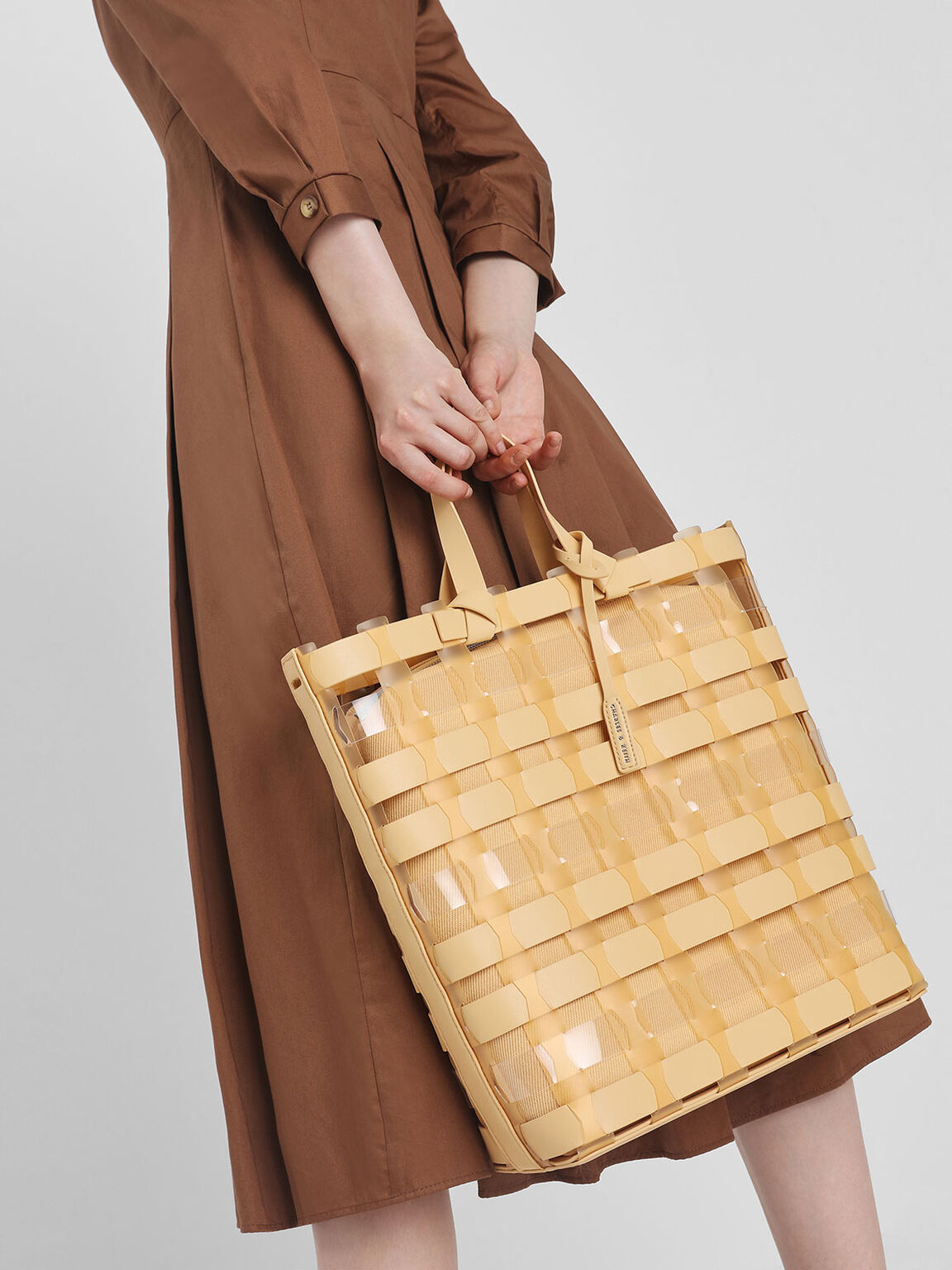 See-Through Woven Tote Bag, Yellow, hi-res