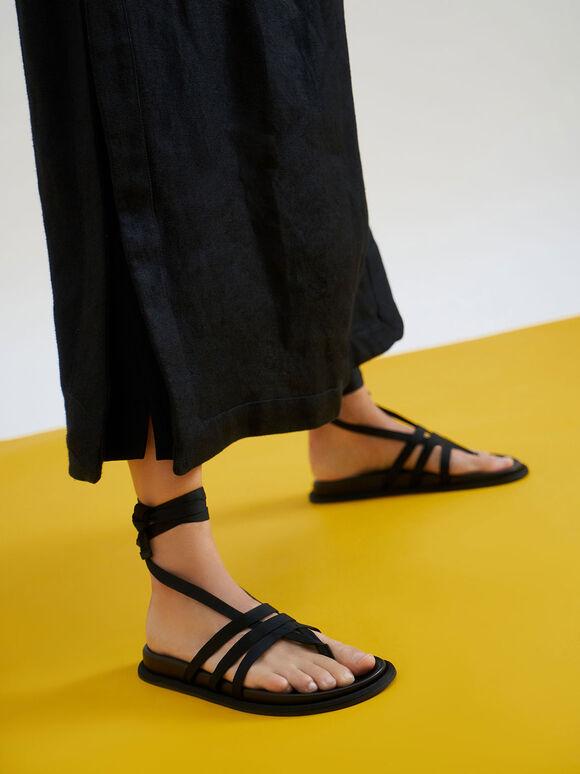 Grosgrain Tie-Around Thong Sandals, Black, hi-res