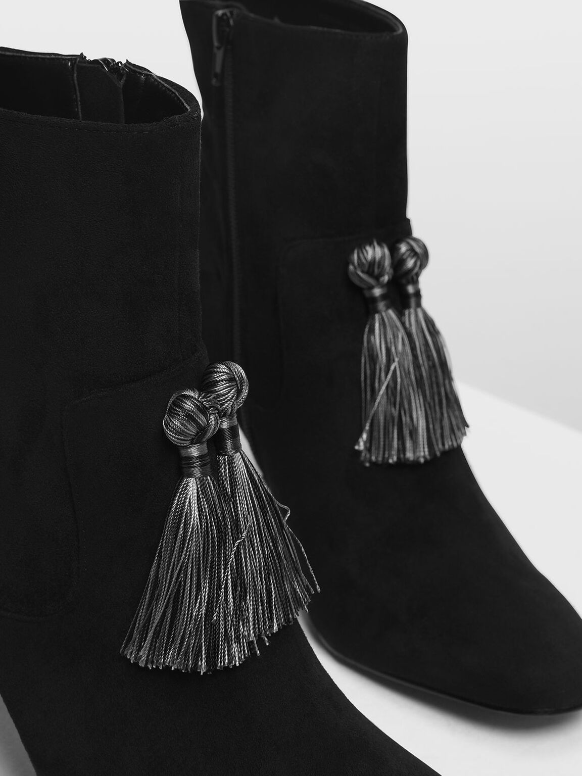 Tassel Detail Calf Boots, Black, hi-res