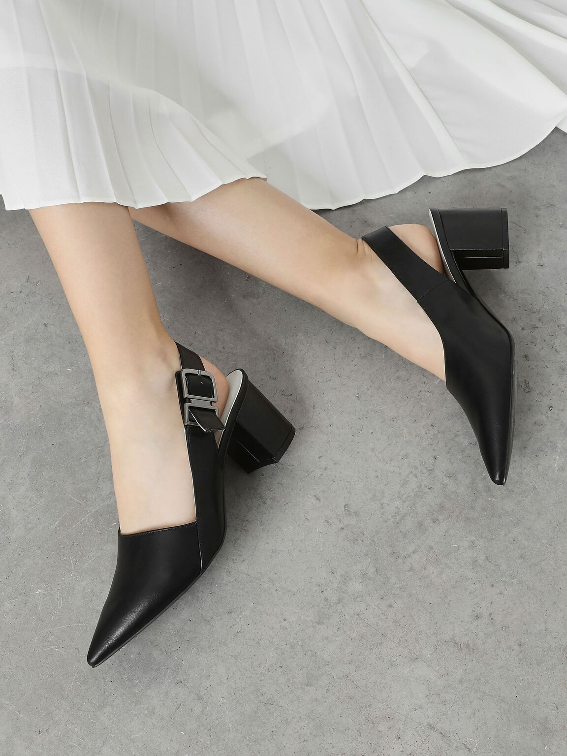 Pointed Toe Block Heel Slingbacks, Black, hi-res