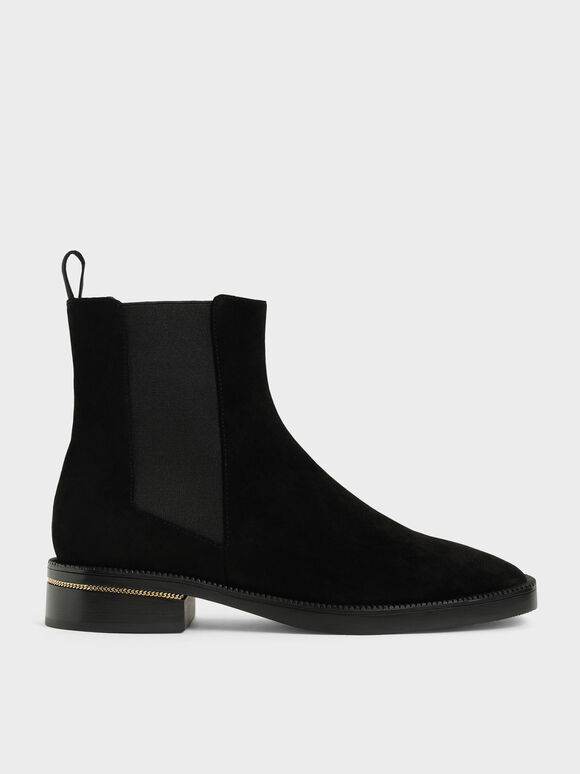 Chain-Trim Heel Textured Chelsea Boots, Black Textured, hi-res