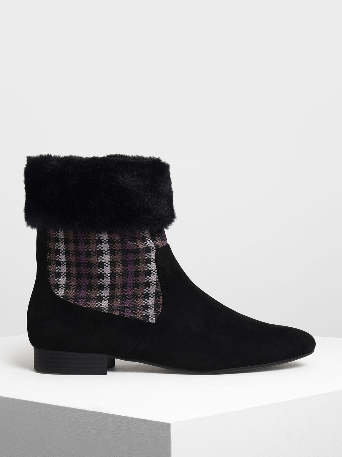 Furry Cuff Printed Boots, Black, hi-res