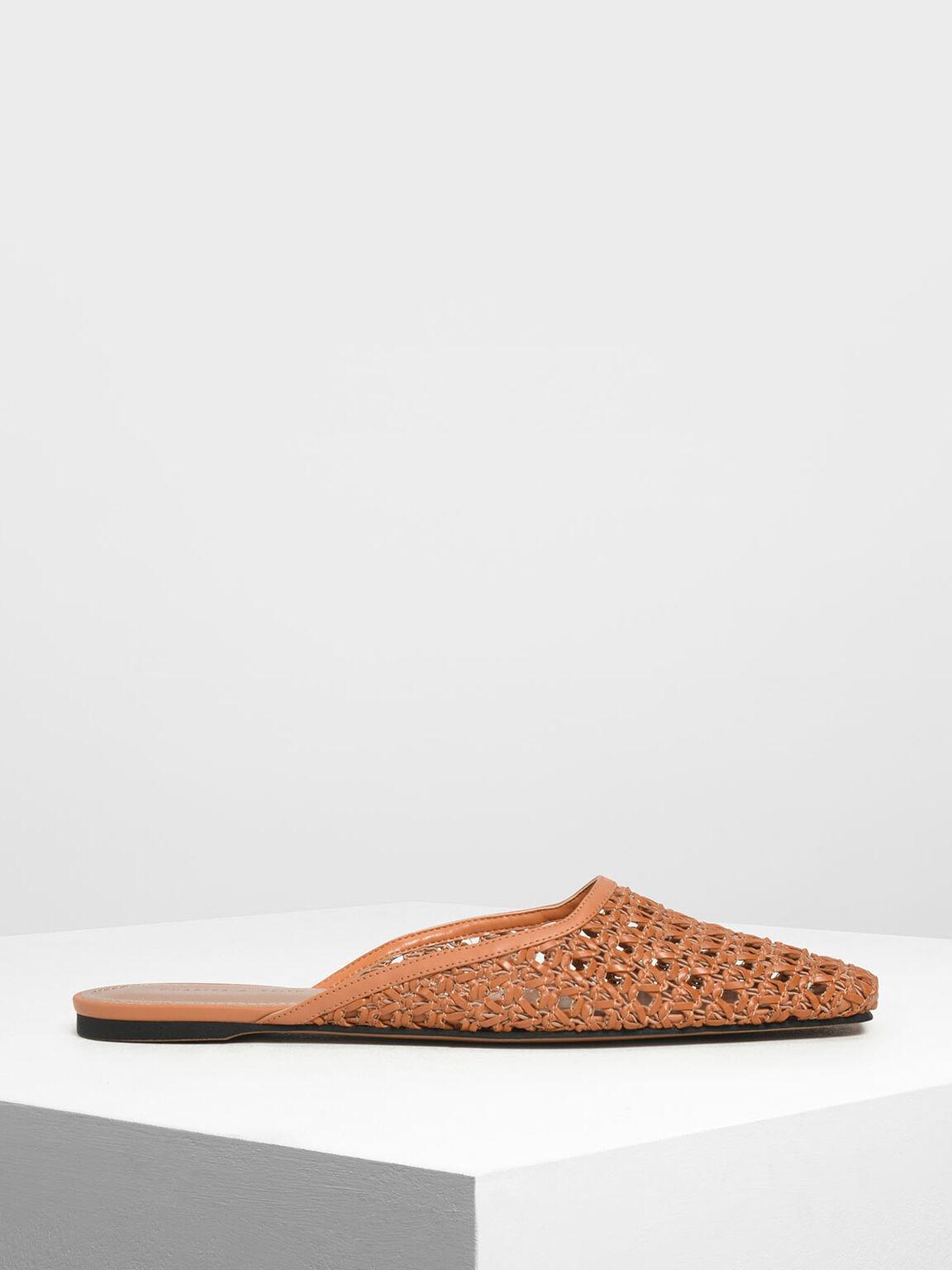 Woven Square Toe Mules, Orange, hi-res