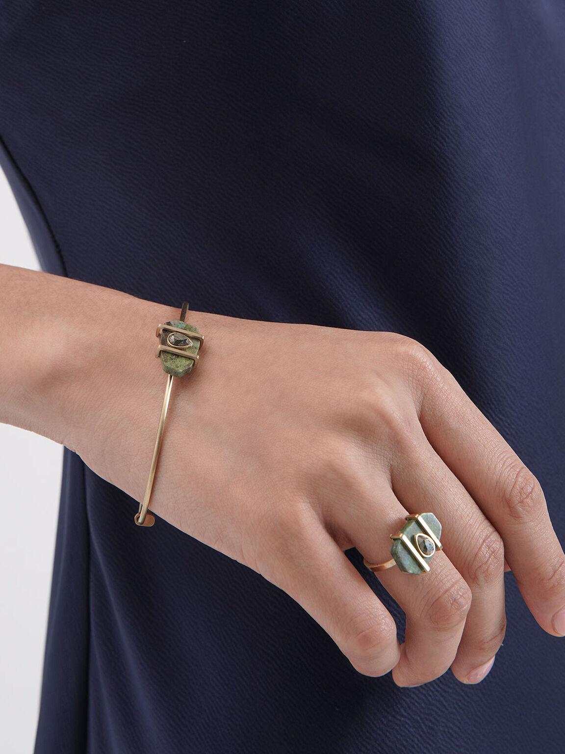 Chrysocolla & Pyrite Gemstone Teardrop Cuff Bracelet, Turquoise, hi-res