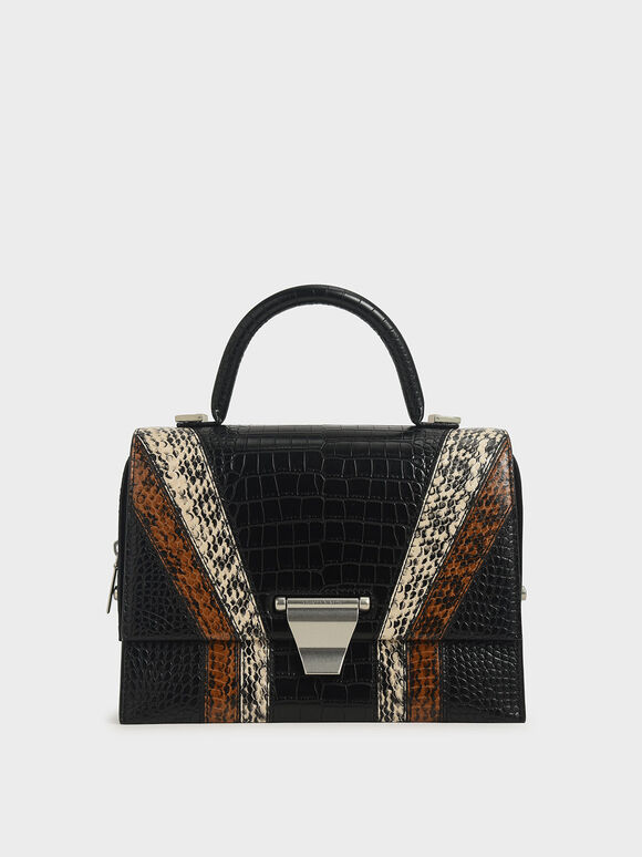 Snake Print Metal Push-Lock Top Handle Bag, Multi, hi-res