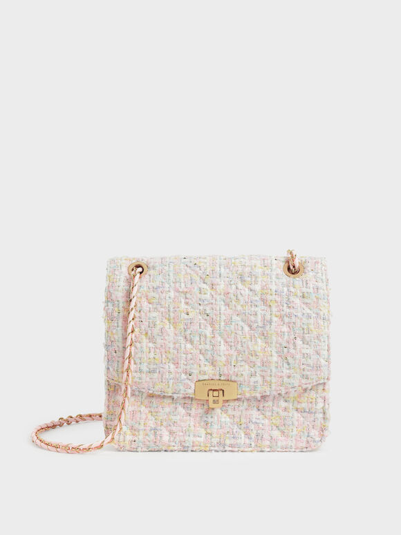 Tweed Chain Strap Bag, Pink, hi-res