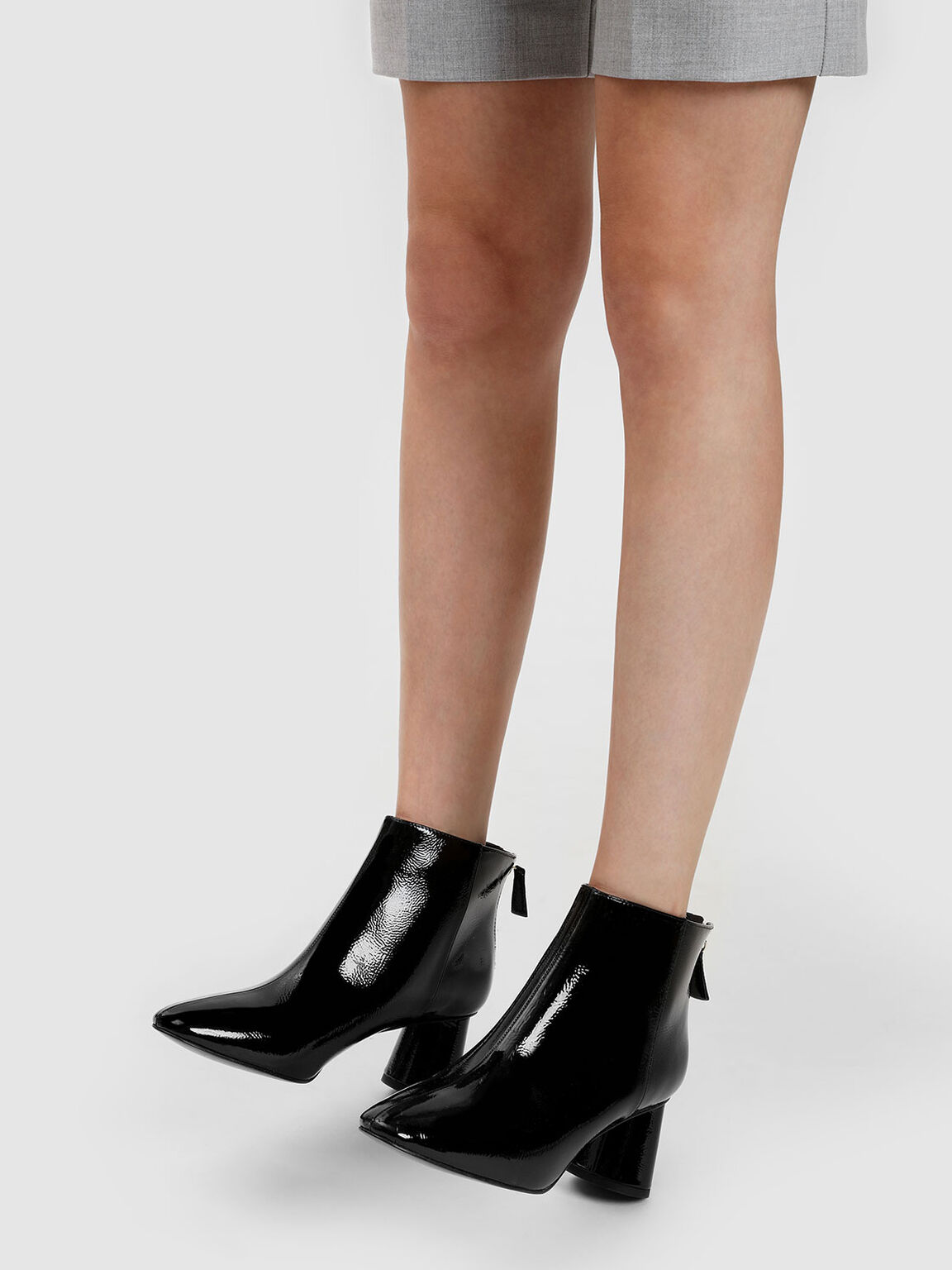 Oval Block Heel Leather Boots, Black, hi-res