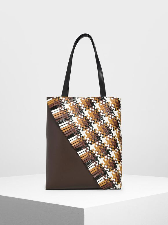 Woven Tote Bag, Dark Brown, hi-res