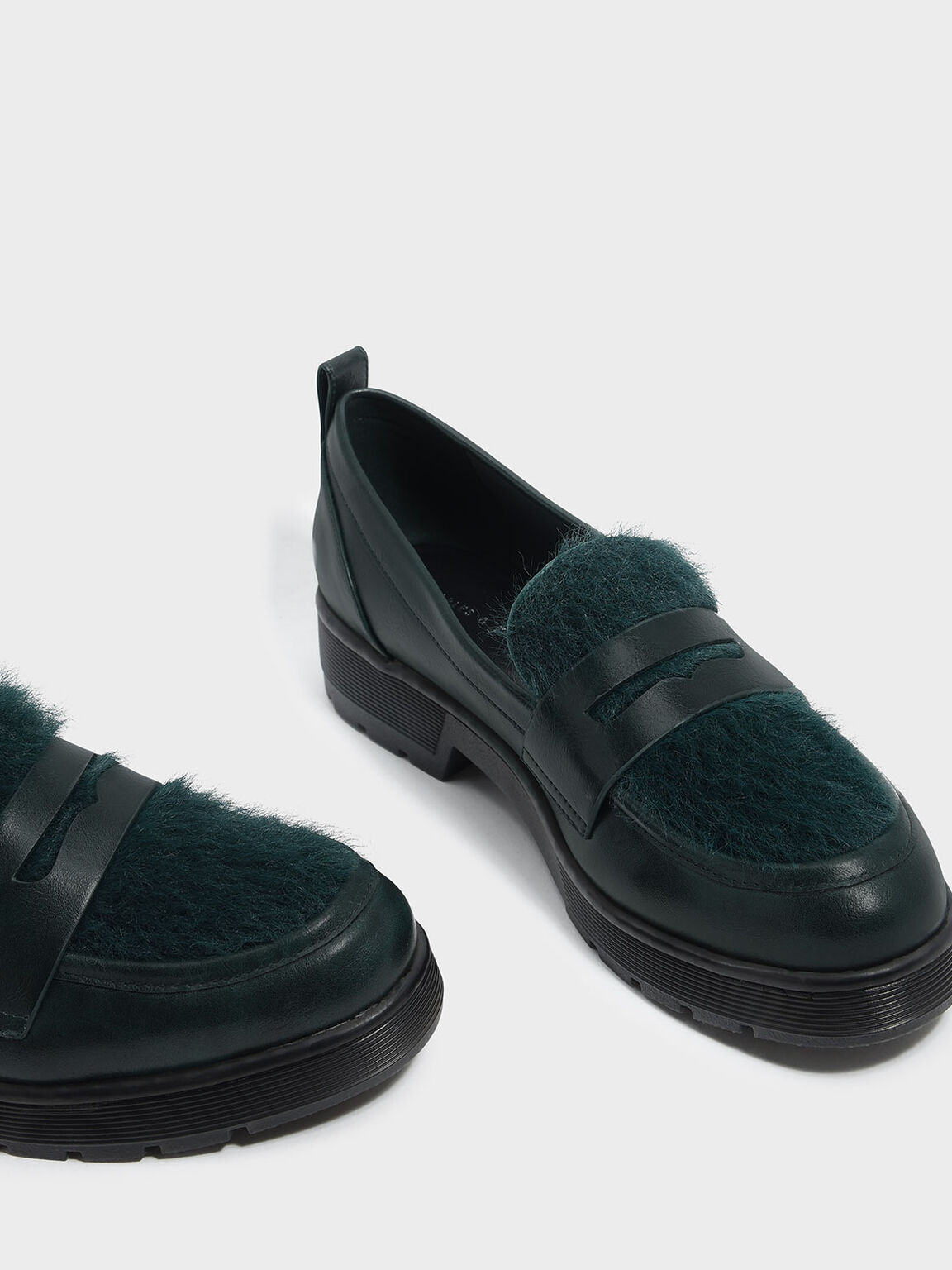 Furry Penny Loafers, Dark Green, hi-res