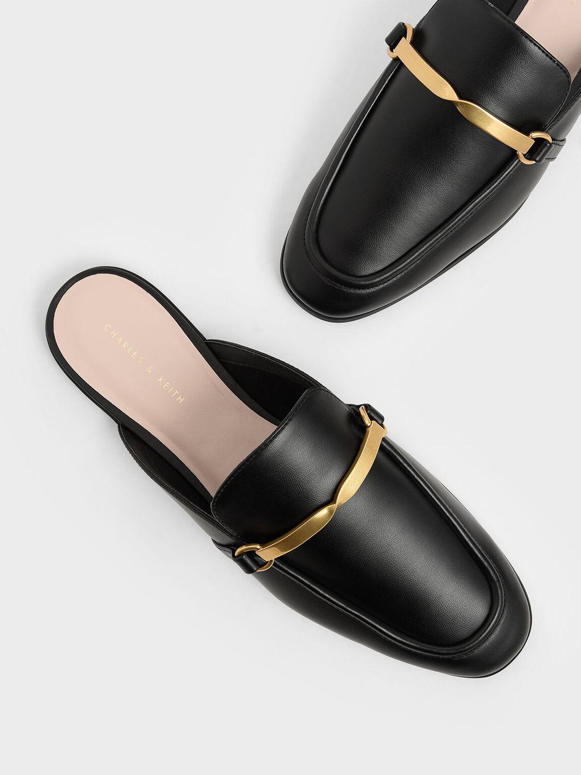 Metal Accent Slip-On Loafers, Black, hi-res