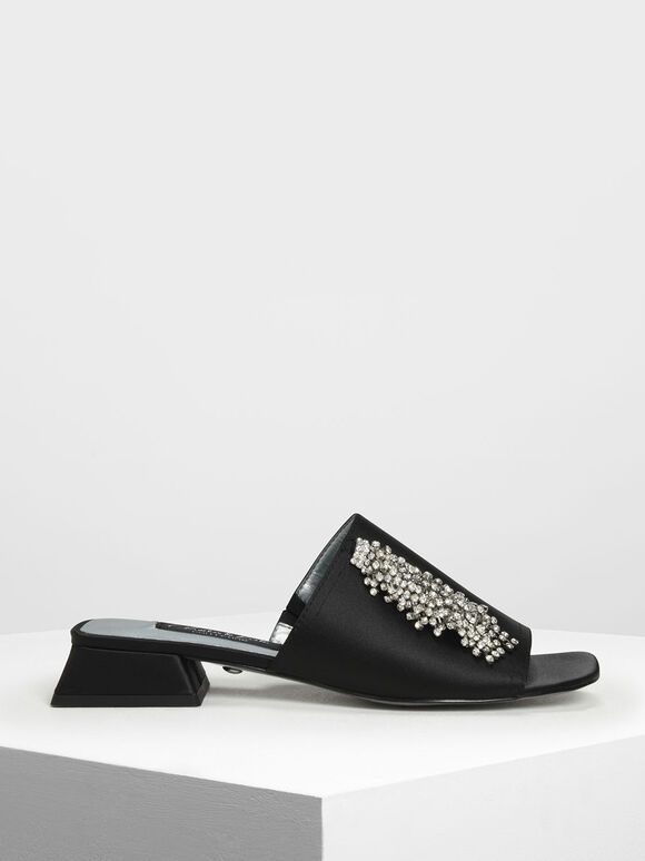 Satin Embellished Slide Sandals, Black, hi-res