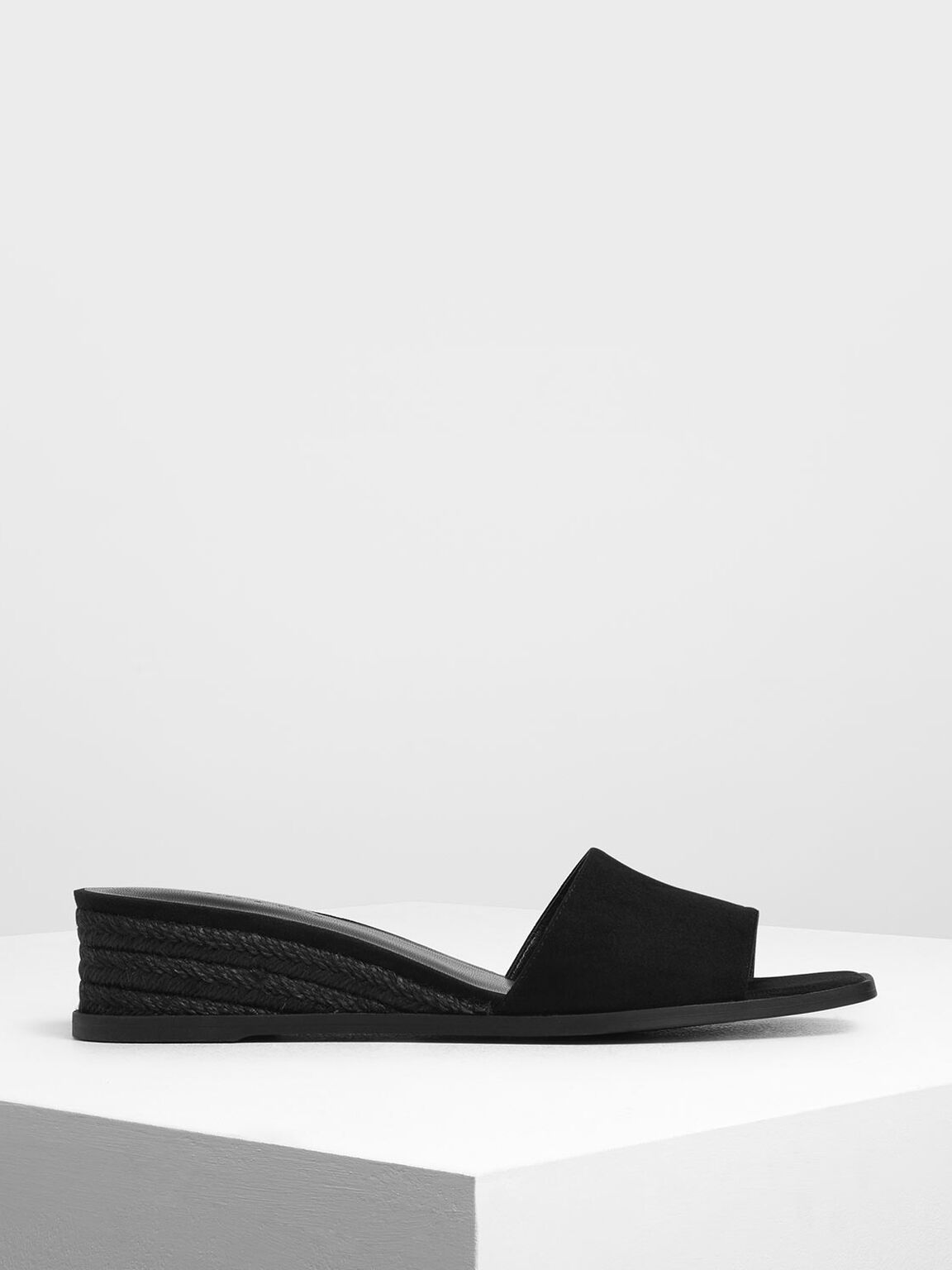 Espadrille Wedges, Black, hi-res