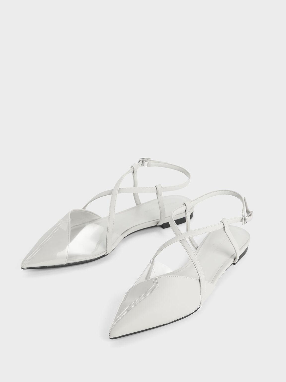 See-Through Effect Criss Cross Sandals, Grey, hi-res