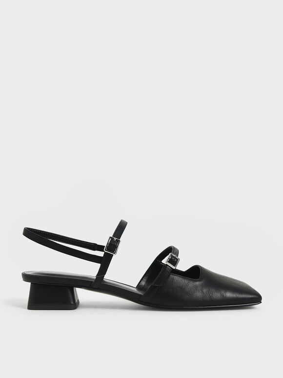 Square Toe Mary Janes, Black, hi-res