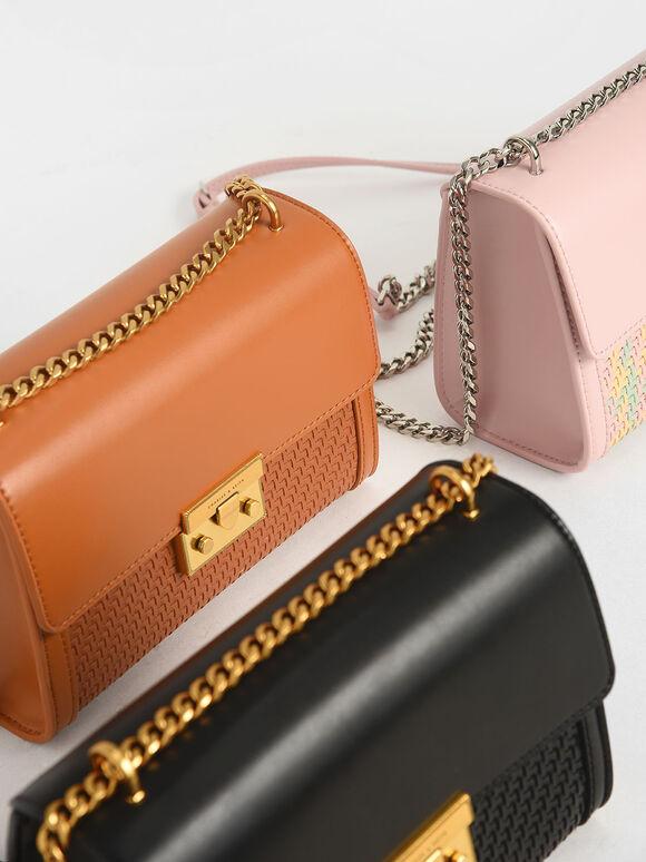 Woven Boxy Chain Strap Bag, Pink, hi-res