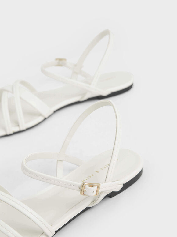 Criss-Cross Ankle Strap Flats, White, hi-res