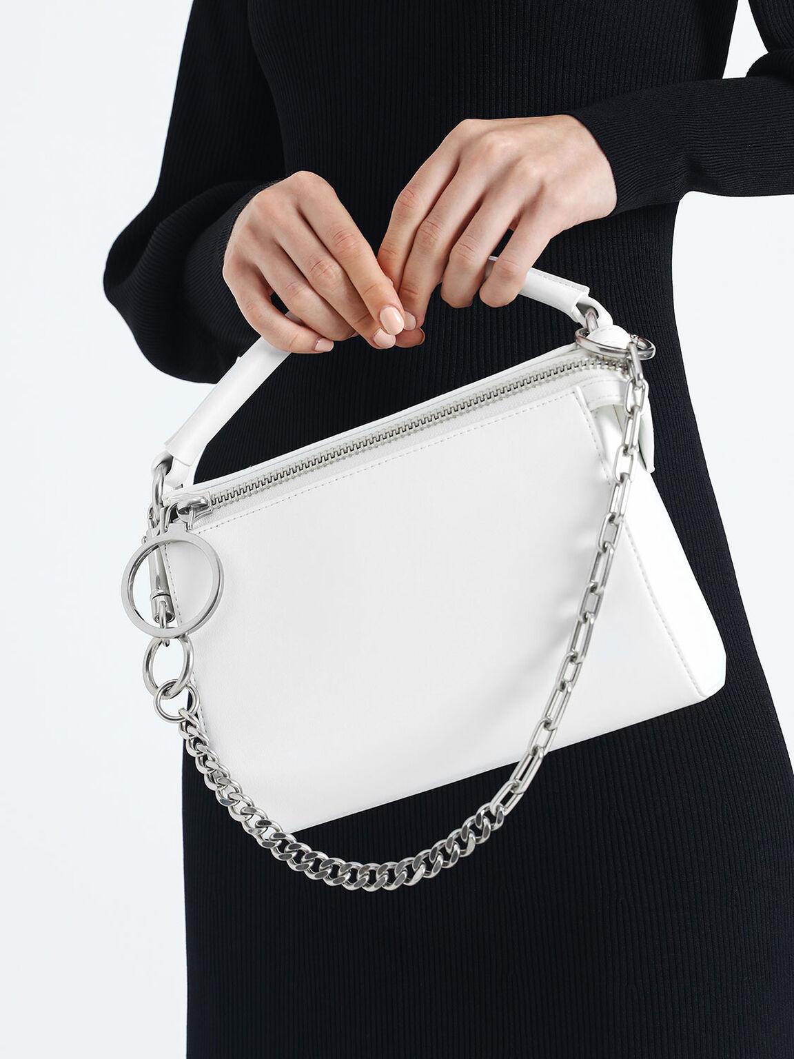 Ring Zip Bag, White, hi-res
