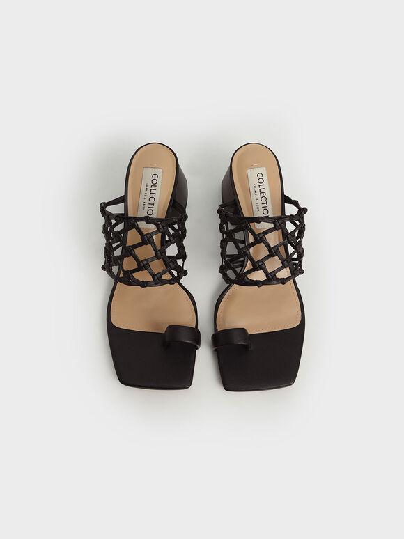 Woven Toe Ring Sandals, Black, hi-res