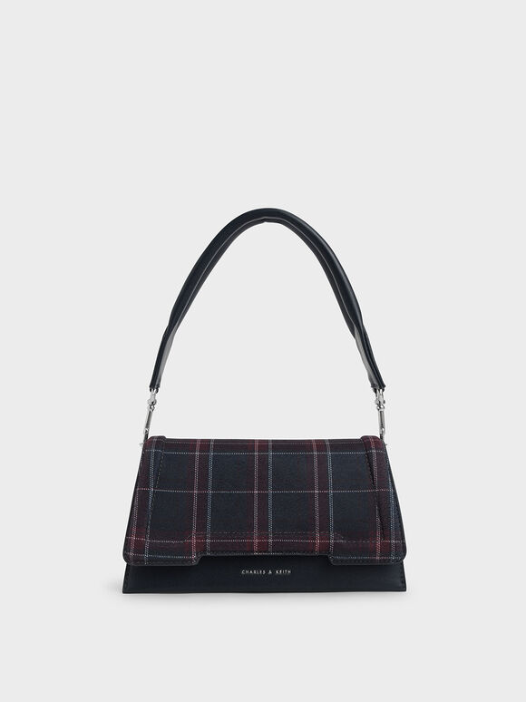 Check Print Trapeze Front Flap Bag, Dark Blue, hi-res