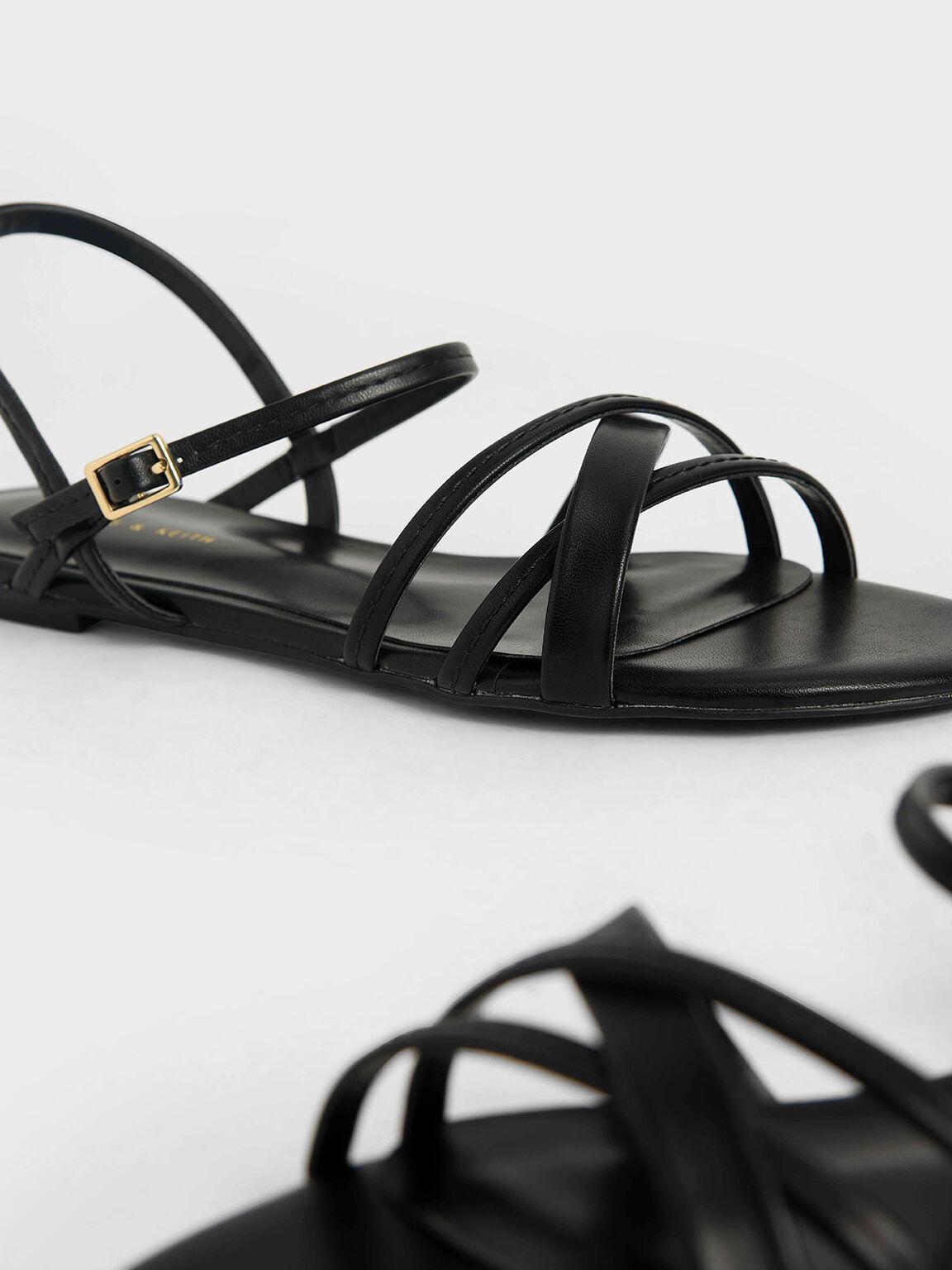 Criss-Cross Ankle Strap Flats, Black, hi-res