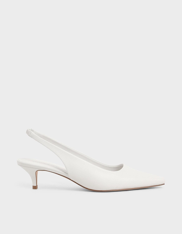 White Kitten Heel Slingback Pumps