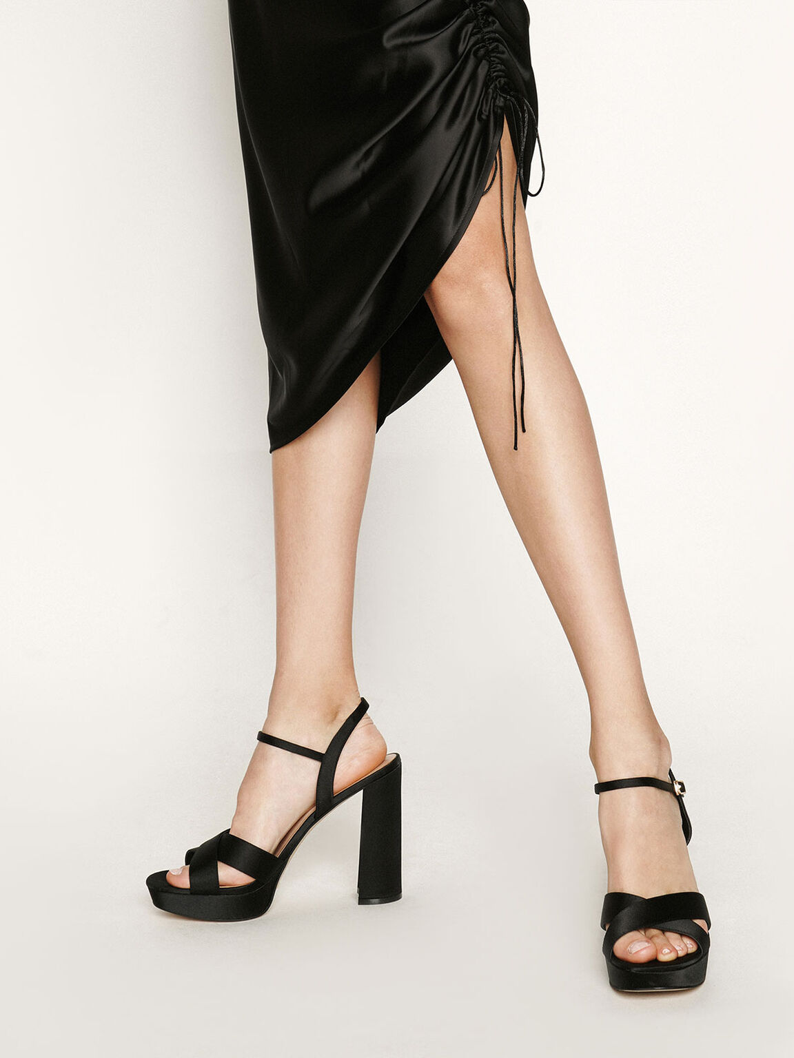 Satin Platform Heels, Black, hi-res
