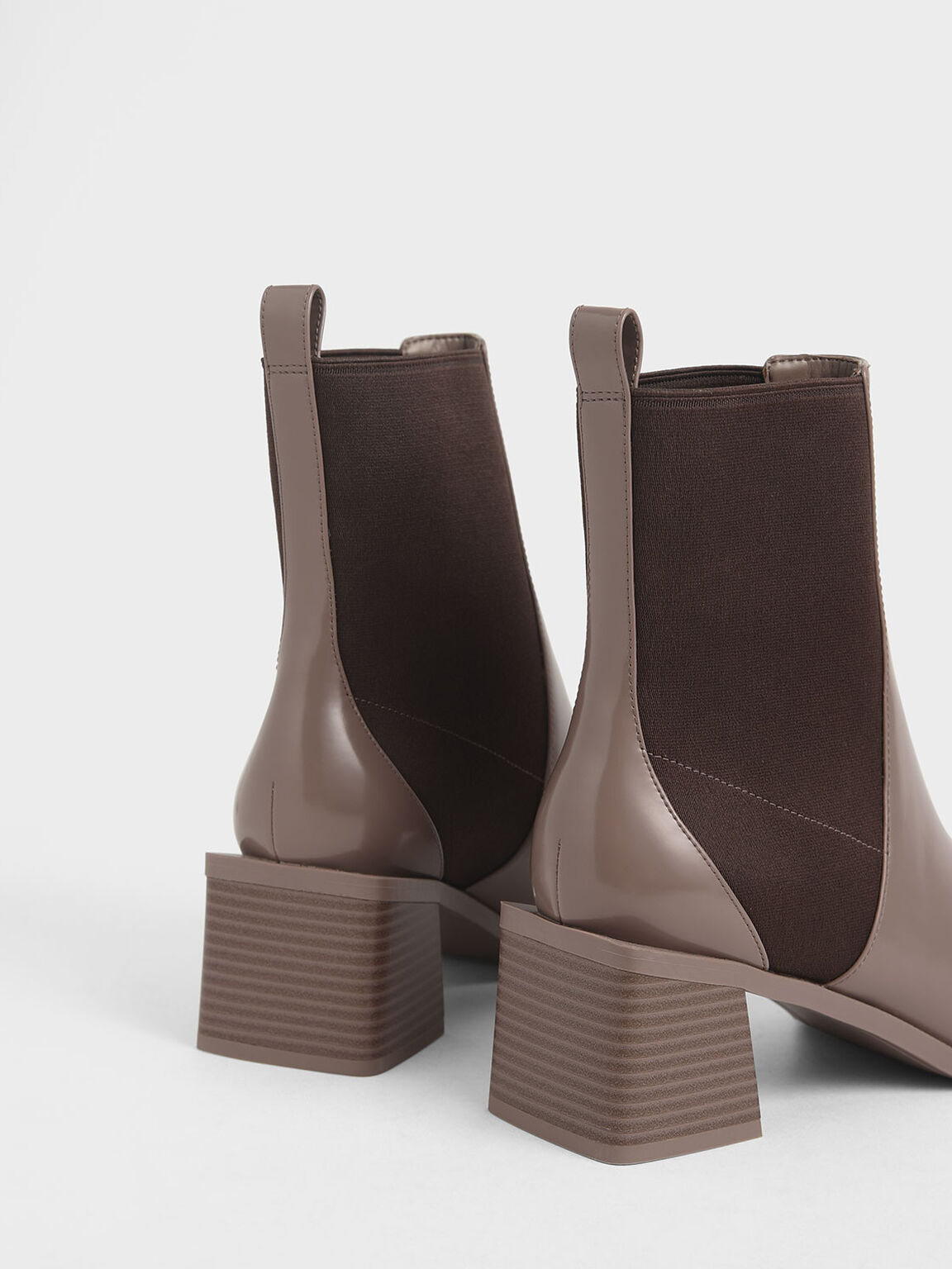 Stacked Heel Ankle Boots, Brown, hi-res