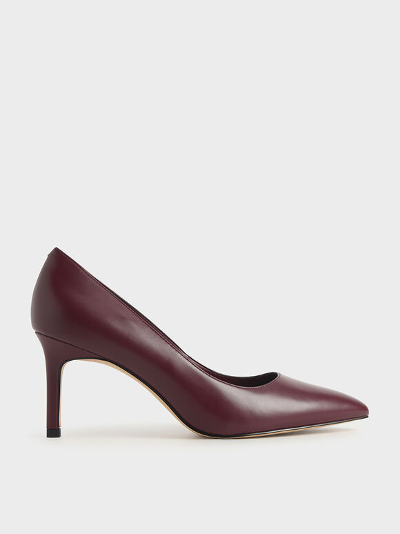Pointed Toe Pumps, Burgundy, hi-res