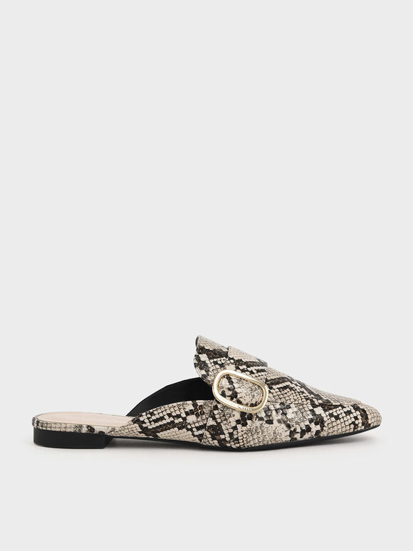 Oversized Buckle Pointed Toe Snake Print Mules, Multi, hi-res