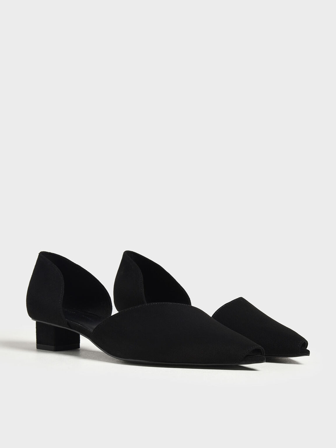 Asymmetrical Peep Toe Pumps, Black, hi-res