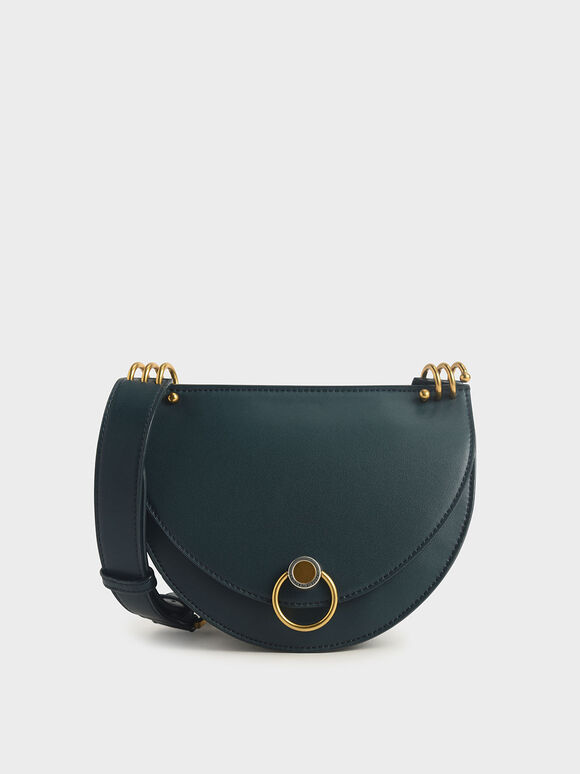 Ring Push-Lock Saddle Bag, Teal, hi-res