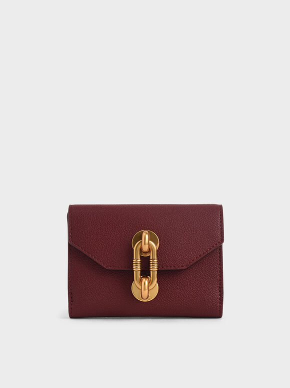 Metallic Turn-Lock Short Wallet, Burgundy, hi-res