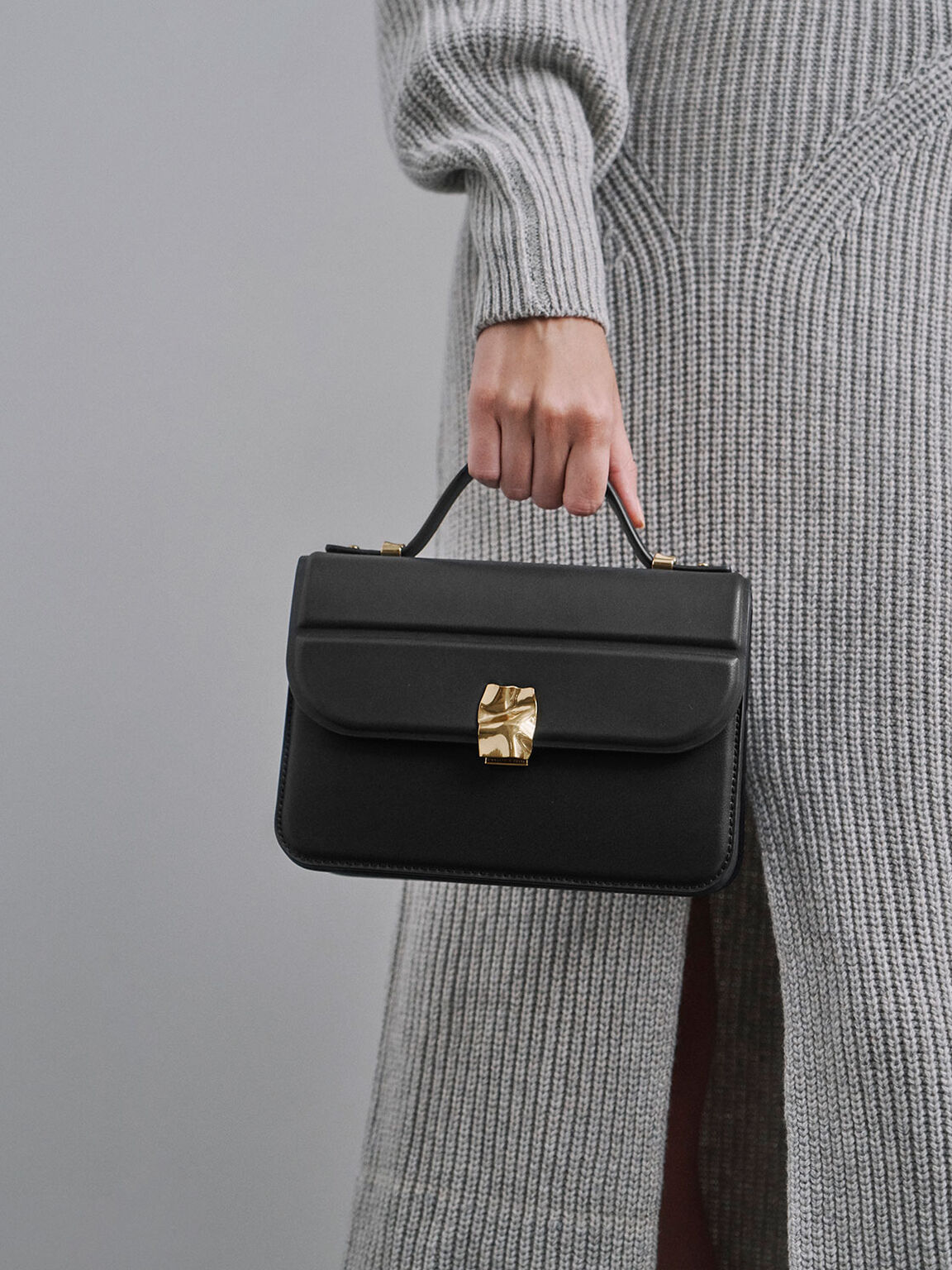 Textured Hammered Buckle Bag, Black, hi-res