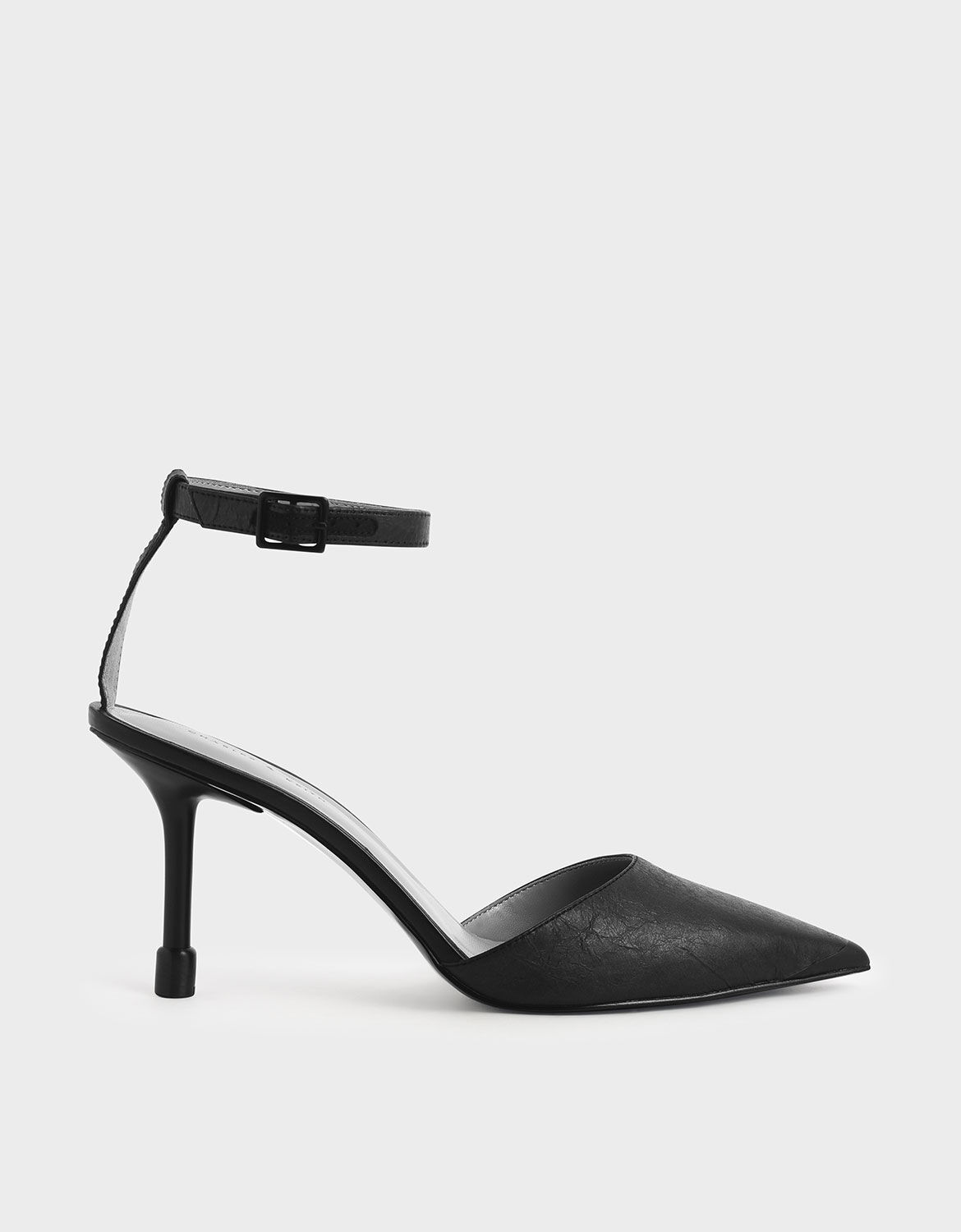 Black Ankle Strap Pointed Toe Pumps