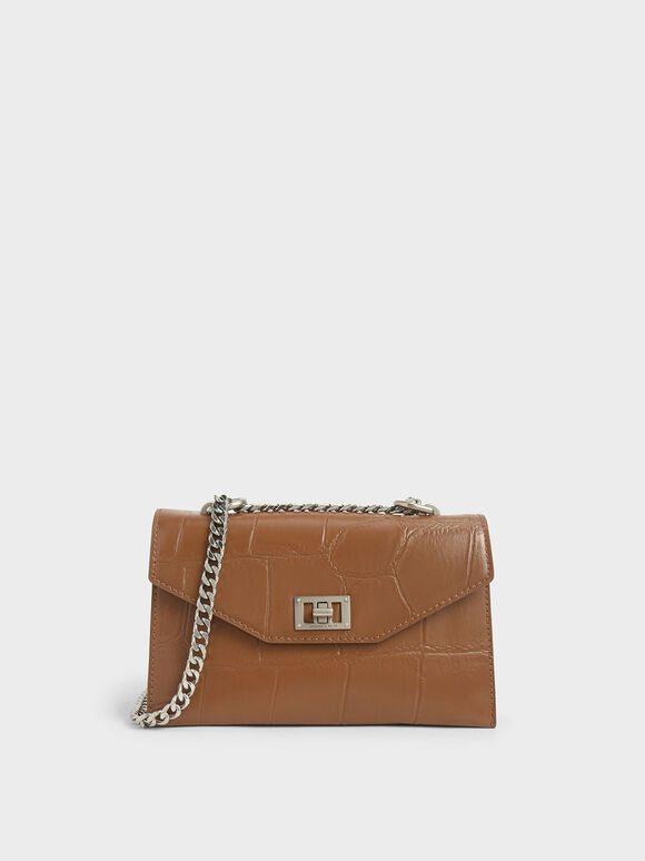 Croc-Effect Turn-Lock Crossbody Bag, Cognac, hi-res