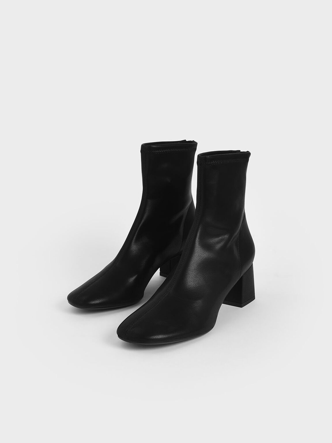 Stitch-Trim Block Heel Ankle Boots, Black, hi-res