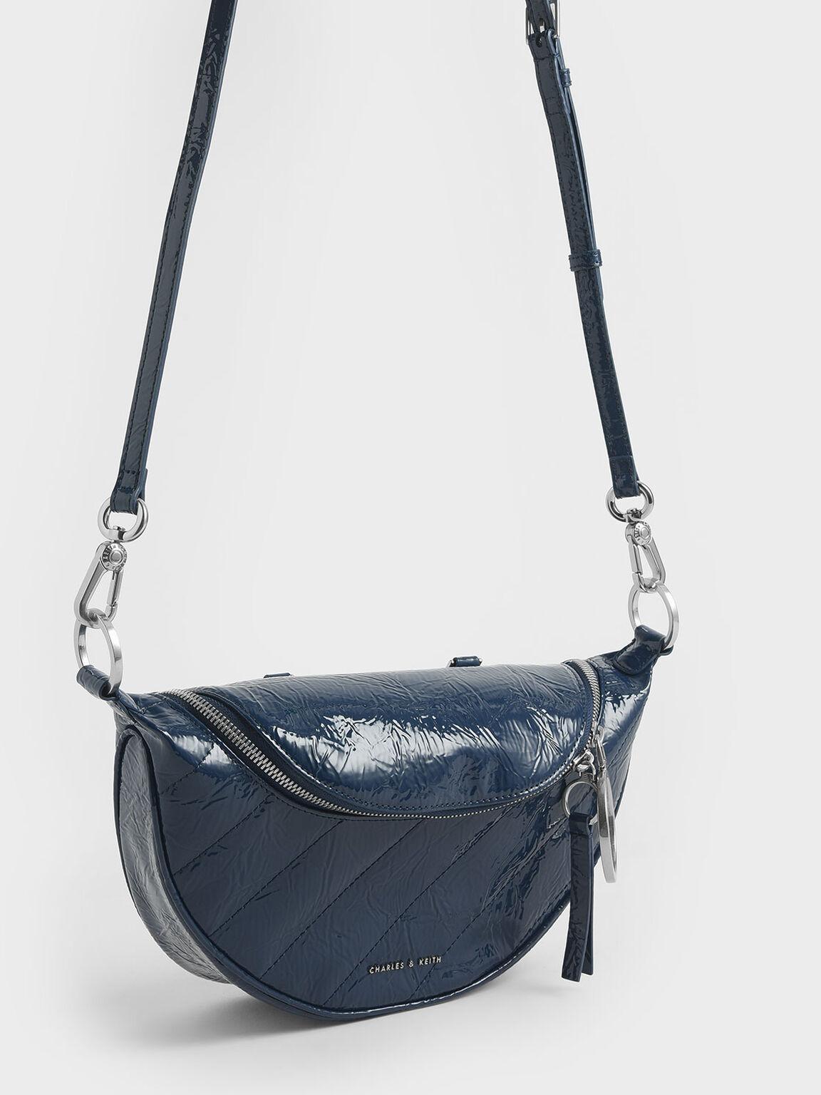 Wrinkled Patent Semi-Circle Crossbody Bag, Blue, hi-res