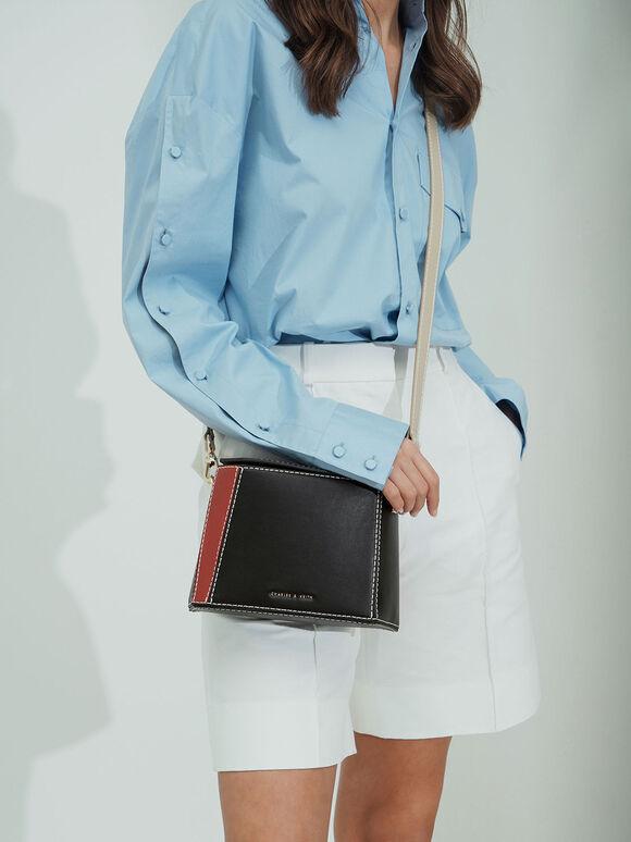 Two-Tone Boxy Bag, Black, hi-res