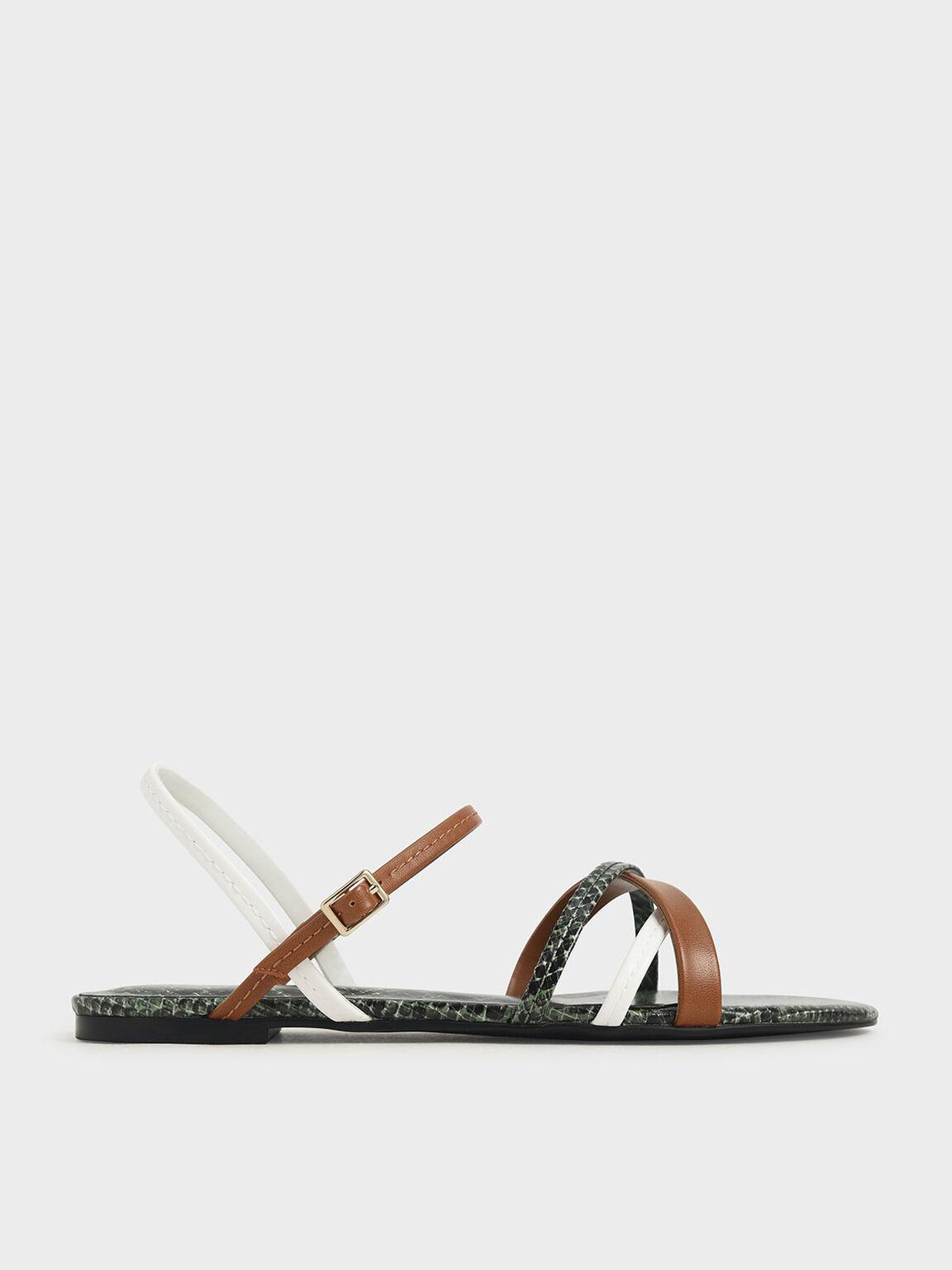 Snake Print Criss-Cross Ankle Strap Flats, Multi, hi-res