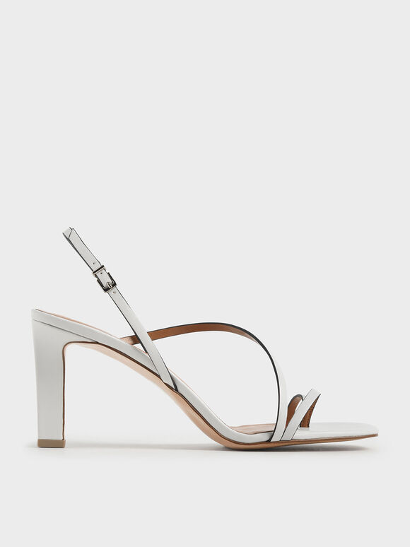 Asymmetric Strap Open Toe Sandals, White, hi-res