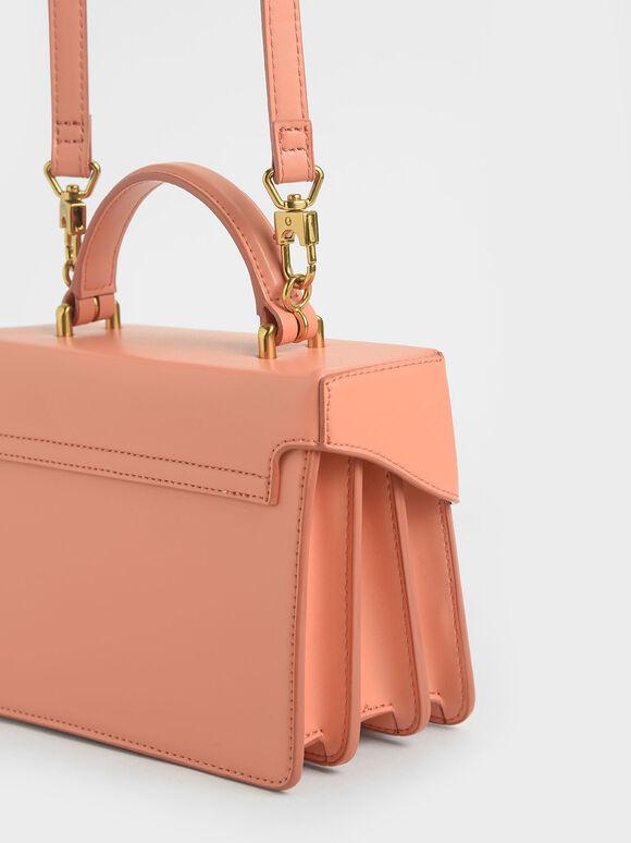 Metallic Push-Lock Handbag, Peach, hi-res