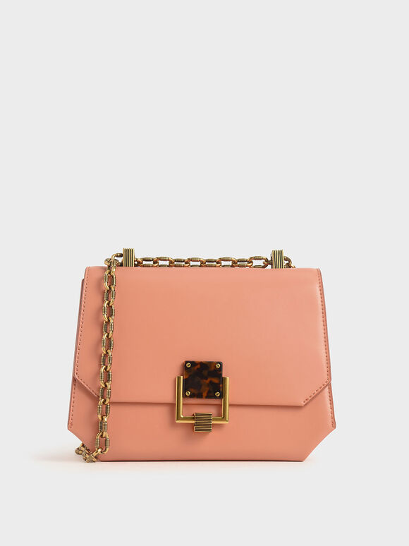 Chain Handle Geometric Crossbody Bag, Peach, hi-res
